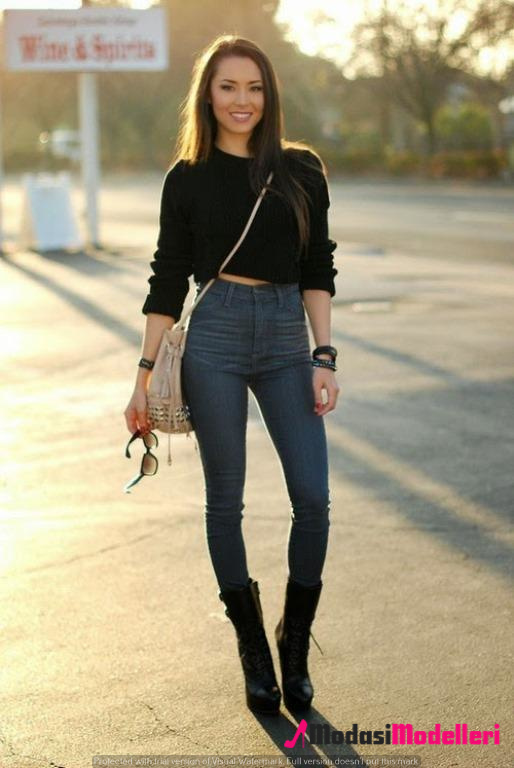 yüksek bel pantolon kombinleri 1 - Yüksek Bel Pantolon Kombinleri
